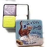 La Savonnerie de Nyons – 4 Seifen mit Olivenöl und Metalldose, Motiv: rote Katze, 100 g x 4 –...