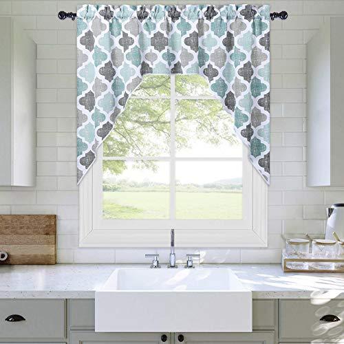 "Haperlare Swag Valance Curtains for Kitchen Window, Moroccan Tile Curtain Valance for Kitchen Living Room Quatrefoil Geometry Window Treatment 56"" W x 36"" L 1 Panel Aqua/Grey"