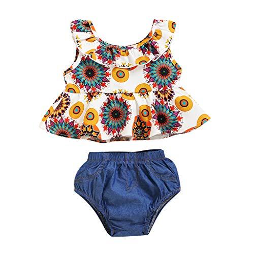 BBSMLIN Ropa Bebe Niña Verano 2020 2PC/Conjunto de Tops Blusa con Volantes + Denim Pantalón Cortos - Ropita para Recién Nacido Bebé 3 a 6 9 12 18 Meses (Multicolour, 3-6 Meses)