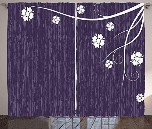 ABAKUHAUS Morado Oscuro Cortinas, Violeta Floral de la Belleza, Sala de Estar Dormitorio Cortinas Ventana Set de Dos Paños, 280 x 260 cm, Cuarzo