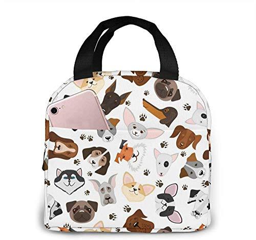 Lindo cachorro y perro de raza mixta, reutilizable, aislado, bolsa de almuerzo, nevera, caja de asas, preparación de comidas para hombres y mujeres, trabajo, picnic o viajes