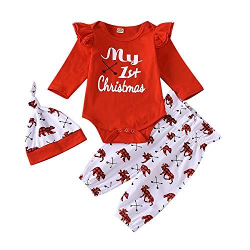 Bebé Recién Nacido 3 Piezas Ropa Navideña para Niños Niñas Mameluco de Manga Larga con Letras Mi Primer Navidad + Pantalones Largos con Patrones Lindos + Sombrero (Rojo 1, 3-6 Mesees)