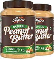 Alpino Natural Peanut Butter Crunch 2 KG | Unsweetened | Made with 100% Roasted Peanuts | 30% Protein | No Added Sugar |...