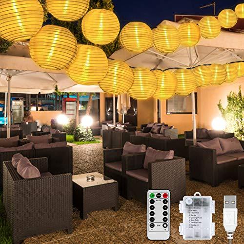 Lampion Lichterkette Außen, 6.5M 30LED Lampion Lichterkette Außen Batterie/USB Wasserdicht KupferDraht mit 8 Modi & Timer Lichterkette Deko für Garten, Balkon, Terrasse, Hochzeit, Party (Warmweiß)