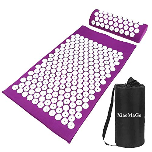 Yoga Acupressure Mat and Pillow Set with Bag - Extra Long 28.7 X 16.5 inch Massage Acupuncture Mat - Naturally Relax Back, Neck and Feet Muscles - Stress and Pain Relief (Purple)