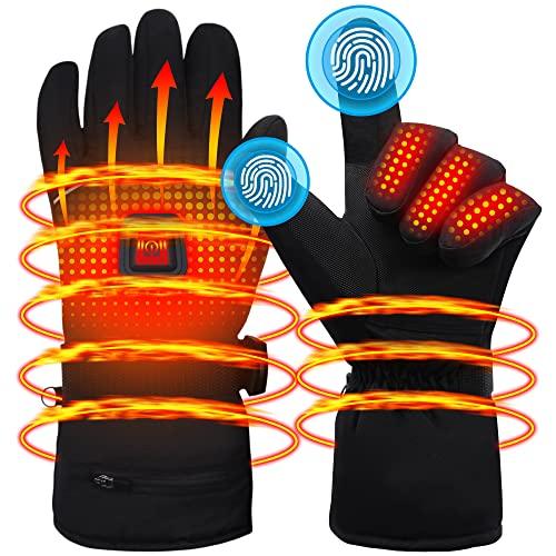 Heated Gloves Men Women Winter Rechargeable Battery Electric Heat Gloves,Sports Thermal Gloves,Touchscreen Hike Ski Hunt Handwarmer