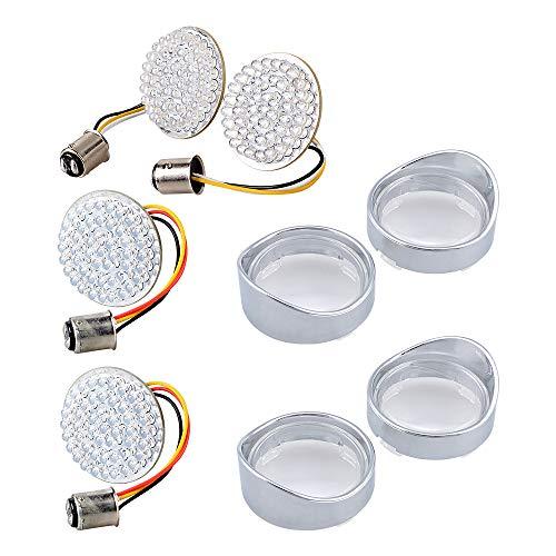 """2X 15 Amber LED Flush Mount Smoke Turn Signal Indicator Blinker Light + 2"""" Red LED Rear Running Brake Turn Signal Light + Chrome Housing Visor-Style Turn Signal Bezels Smoke Lens"""