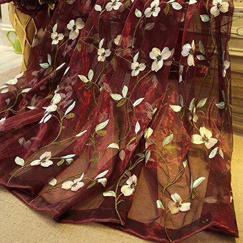 PENVEAT Floral bestickte Schiere Tüll Vorhänge für Wohnzimmer Mädchen Jacquard pastoralen Fenster Vorhang für Schlafzimmer Vorhänge Cortinas, rot, Custom Made, Pull Plissee Tape