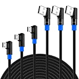 SUNGUY USB Micro Cable 90 Degree,1.5ft+3ft+6ft 3Pack Right Angle Nylon Braided Reversible Connector Fast Charge & Data Sync for Samsung Galaxy S7/S6 Edge, and Other Devices with Micro USB Port