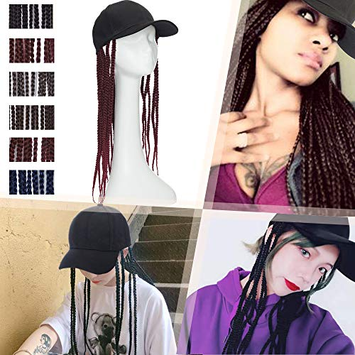 Hairro Baseball Cap with Long Hair Braids 18 Inch Synthetic Box Braiding Hair with Cap for Men and Women Hip Hop Punk Style Faux Locs Hat Wig 2 Tones Hair Extensions 1BTBUG Black Mix Burgundy Wine Red