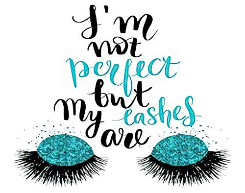"""MQPPE Quote 5D DIY Diamond Painting Kits, I'm Not Perfect But My Lashes are Calligraphy Phrase for Beauty Salon Full Drill Painting Arts Set Craft Canvas for Home Wall Decor Adults Kids, 12"""" x 16"""""""