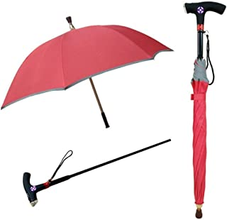 YQRYP Walking Stick, Multi-Function Smart Cane with Umbrella Detachable LED Lighting System Old Walking Stick - 88CM Windproof Umbrella, Golf Umbrella (Color : Pink)