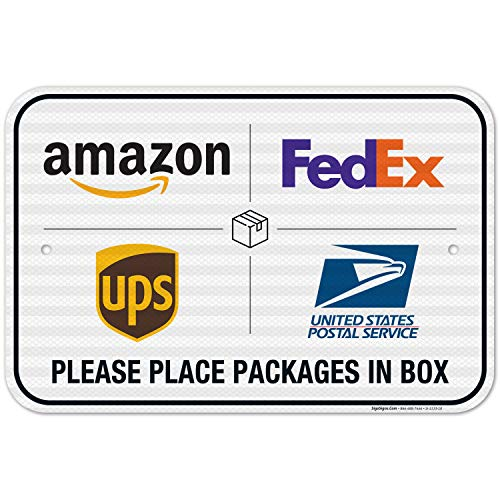 Package Delivery Sign, Delivery Instructions FedEx Amazon Ups USPS Sign, 12x18 Inches, 3M EGP Reflective .063 Aluminum, Fade Resistant, Easy Mounting, Indoor/Outdoor Use, Made in USA by SIGO SIGNS