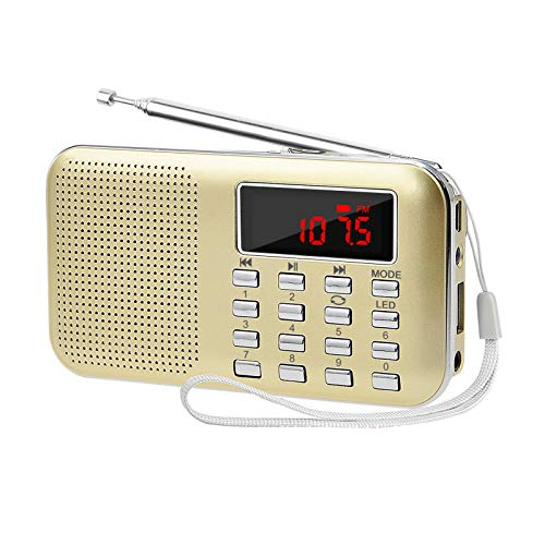 LEFON Mini Digital AM FM Radio Media Speaker MP3 Music Player Support TF Card/USB Disk with LED Screen Display and Emergency Flashlight Function (Gold-Upgraded)