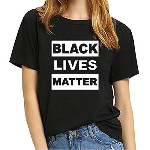POOMALL Lives Noir Matière T-Shirt Ensemble, Nous Coton Essuie-Noire Lives Matter Femmes à Manches Courtes, Je ne Peux Pas Respirer T-Shirt Protest Mars (Color : Black, Size : S)