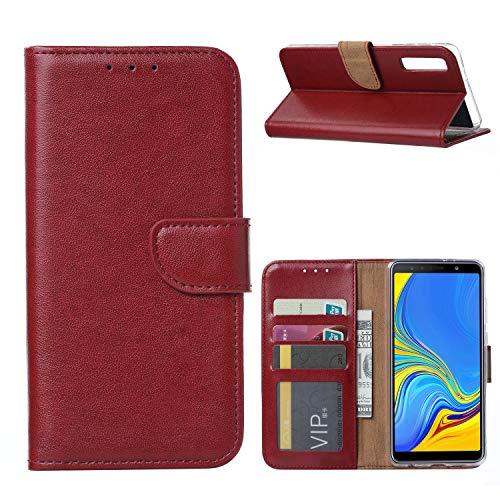 Ntech Samsung Galaxy A7 (2018) Portemonnee Hoesje/Book Case - Bordeaux Rood