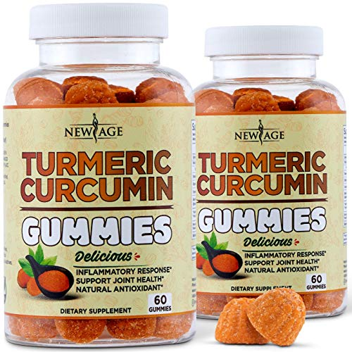 Turmeric Curcumin Gummies with Ginger by New Age -2 Pack - Vegan Gummies - Premium Joint & Healthy Support with 95% Standardized Curcuminoids - Non-GMO, Gluten Free, Vegetarian Gummies