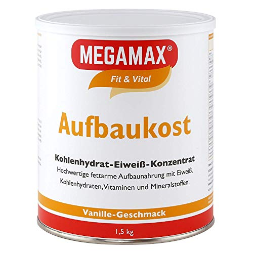 MEGAMAX Aufbaukost Vanille 1.5 kg - Ideal zur Kräftigung und bei Untergewicht - Proteinpulver zur Zubereitung eines fettarmen Kohlenhydrat-Eiweiß-Getränkes für Muskelmasse u. Muskelaufbau