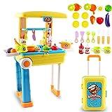 """deAO SC-KB 2-in-1 tragbares """"My Little Chef""""-Küchen-Set mit Koffer, Spielset mit Sound, Lichtern und Zubehör (gelb), 3-5 Jahre"""