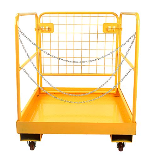 Sidasu Forklift Safety Cage 1150LBS Capacity, Forklift Work Platform 36x36 Inches, Forklift Aerial Platform, Heavy Duty Steel Forklift Cage, Collapsible Lift Basket, Aerial Rails for Lifting Loader