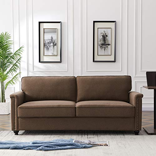 Extra-Deep Down-Filled Sofa Couch - AiChuangHome SC012 Morden Upholstered Sectional Oversized Sofa Couch with Hardwood Frame, Pillowed Back Cushions, 75.6'', 3 Seater Couch for Living Room (Brown)
