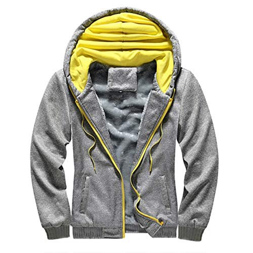 WLZQ Mens Hooded Sweater Winter Mens Fleece Jacket Plus Fleece Thick Hooded Mens Sweater Youth Sweater Jacket