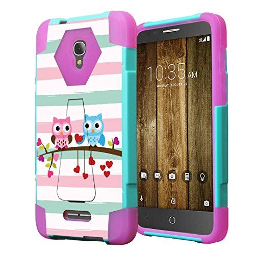 Alcatel Fierce 4 Case, Alcatel Allura Case, Capsule-Case Hybrid Fusion Dual Layer Combat Kickstand Case (Teal Green & Pink) for Alcatel Fierce 4   Allura   Pop 4 Plus - (Cute Owl)