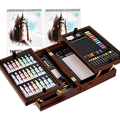 Art Supplies, with Soft & Oil Pastels, Acrylic Paints,Watercolor Paints, Water Color Set, Sketching Kit, Charcoal & Colored Pencils, Watercolor Cakes, and Tools(Wooden), Art Set in Exquisite Wood Box.