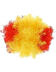 BESTOYARD Spain Fancy Dress Wig Afro Clown Wig Party Soccer Fans Wig for Football Fans World Cup Supporters