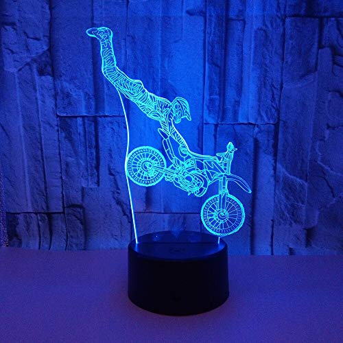 Night Light for Kids Night Stand Lamp Motorcycle Stunts Led 3D Table Lamp 7 Colors Changing Novelty Led Night Lights for Sports Fans Best Gift Remote Control 16 Colors