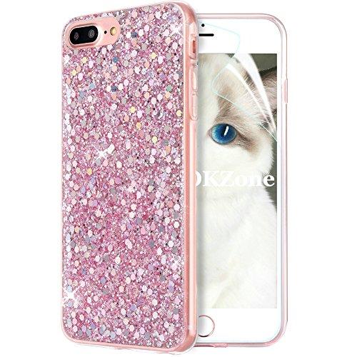 OKZone Cover iPhone 8 Plus,Custodia iPhone 7 Plus Custodia Lucciante con Brillantini Glitters Ultra Sottile Designer Case Cover per Apple iPhone 7 Plus/iPhone 8 Plus 5.5 Pollici (Rosa)