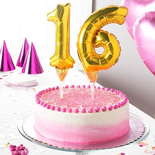 Party Hub 16 NO. 7 inches Gold Color Cake Foil Balloon Decoration Cake Topper for Party Decor (16)