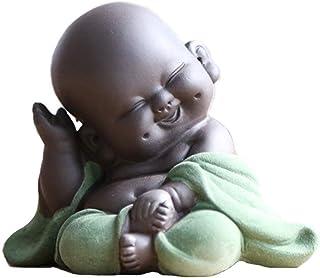 LBYLYH Home Decor Ornament Gift 8.5cm Creative Mini Monk Statue Sculpture Ceramic Laughing Buddha Statues Tea Set Miniature Figurines Meditation