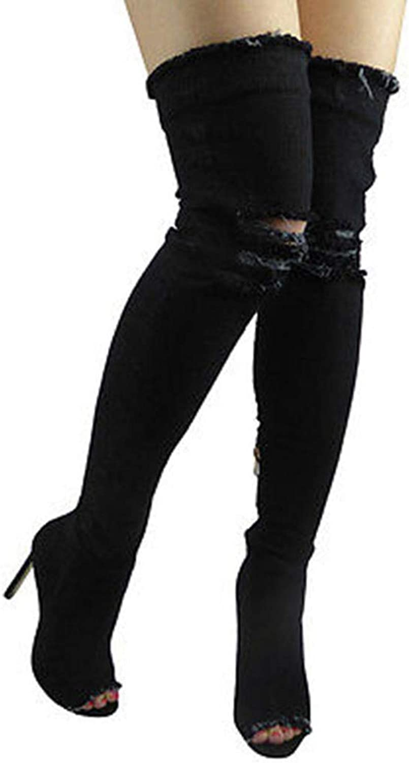 Fashion bluee Hole Jeans Sexy Boots High Heel Over The Knee Stretch Boots Open Toe Denim Thigh Long Boots