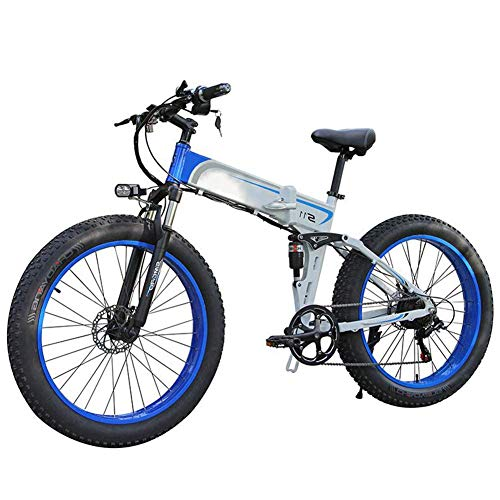 JIEER Elektrofahrrad Ebikes Folding Moutain Bike Leichtgewicht 350W 48V, Herren Damen Mountain Folding E-Bike 7-Gang-Getriebesystem, mit 26-Zoll-Reifen Und LCD-Bildschirm