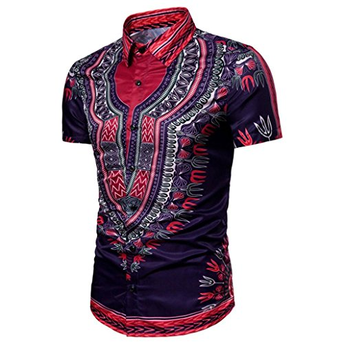 VENMO Herren Ethnic Style Beach Short Sleeved Shirt/Hipster Hip Hop Bluse/Afrikanische Tradition Festival Tops Tribal Hemd Lange Ärmel Dashiki