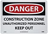 NMC D493RB OSHA Sign, Legend 'DANGER - CONSTRUCTION ZONE UNAUTHORIZED PERSONNEL KEEP OUT', 14' Length x 10' Height, Rigid Plastic, Black on White