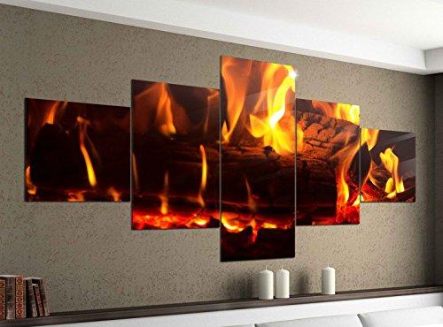 Acrylglasbilder 5 Teilig 200x100cm Feuer Lagerfeuer Kamin Flamme Holz Druck Acrylbild Acryl Acrylglas Bilder Bild 14F145, Acrylgröße 11:Gesamtgröße 200cmx100cm