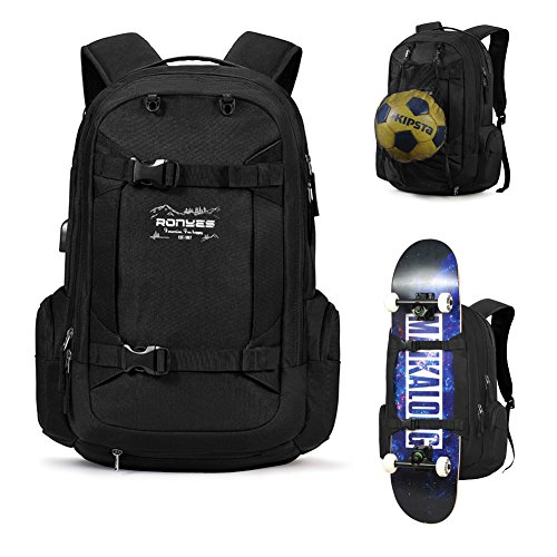 Sac à Dos de Skateboard Basketball Baseball Football Ballon de Rugby Soccer Ball Sac à Dos Multifonction avec Port USB Panier de Basketball Compatible avec Ordinateur Portable 43,9 cm Noir