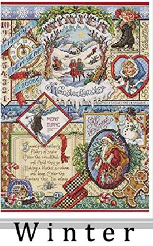 Zamtac Gold Collection Lovely Counted Cross Stitch Kit Spring Summer Autumn Winter Time Sampler janlynn Four Seasons Season - (Color: Winter, Cross Stitch Fabric CT Number: 14CT unprint Canvas)