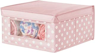 mDesign Soft Stackable Fabric Closet Storage Organizer Holder Box - Clear Window and Lid, for Child/Kids Room, Nursery, Playroom - Polka Dot Print - Medium - Pink with White Dots
