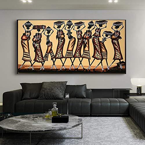 ganlanshu Moderne abstrakte Wandgemälde afrikanische Tanzfrauenfigurenmalerei auf Leinwandmodeplakat und Druckdekoration,Rahmenlose Malerei,50x100cm