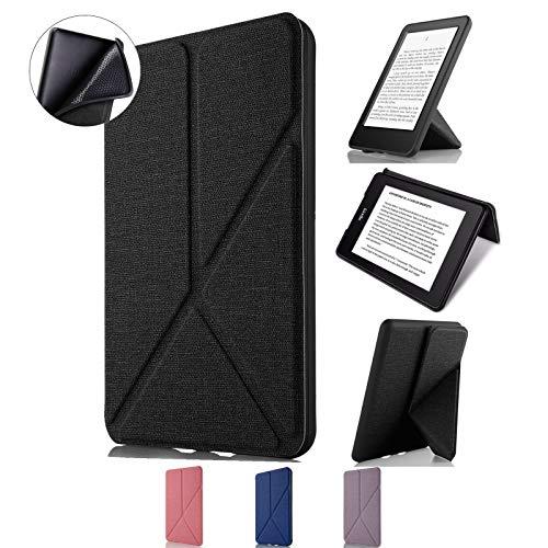 Capa Kindle Paperwhite WB Auto Hibernação Sensor Magnético Silicone Flexível Origami Estilo Tecido Preto