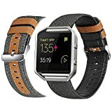 eseekgo Compatible with Fitbit Blaze Bands for Men Women with Frame, Classic Canvas Fabric with Micro Fiber Leather Strap Replacement with Metal Frame for Women Men, Large Black