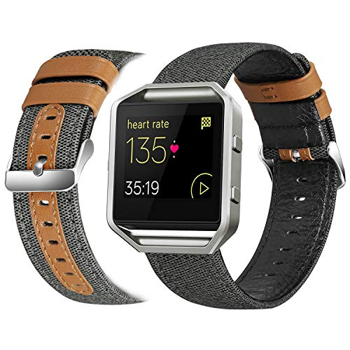 eseekgo Compatible with Fitbit Blaze Bands for Men Women with Frame, Classic Canvas Fabric with Micro Fiber Leather Strap Replacement with Metal Frame for Men Women, Black Large