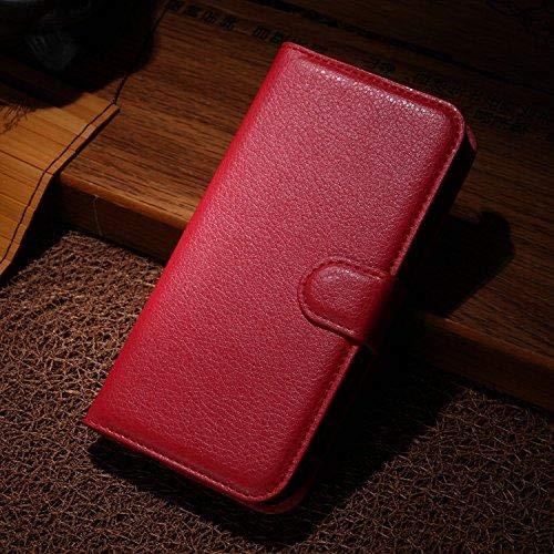 Qiaogle Teléfono Case para Doogee X70 Estilo Funda de PU Cuero Billetera Clamshell Carcasa Cover - FC04 / Rojo