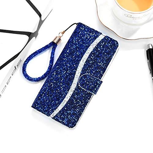 PHONETABLETCASE+ / for SAMSUNG Galaxy A10 / M10 Glitter Powder Horizontal Flip Funda de cuero con ranuras y soporte tarjeta y cordón Protección de la cubierta de la cubierta a prueba ( Color : Azul )