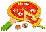 Idena 4100115 - Kleine Küchenmeister Pizza Set aus Holz, für Spielküche und Kaufmannsladen, ab 3 Jahre, ca. 28 x 28 x 3 cm