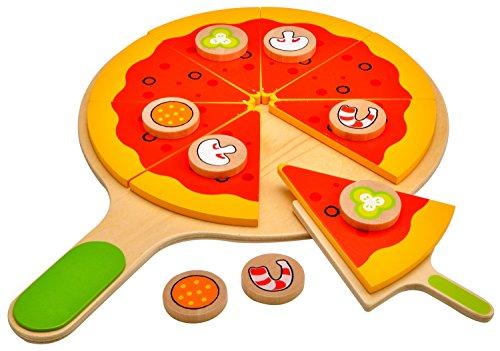 Idena 4100115 Kleine Küchenmeister Pizza Set aus Holz, für Spielküche und Kaufmannsladen, ab 3 Jahre, ca. 28 x 28 x 3 cm