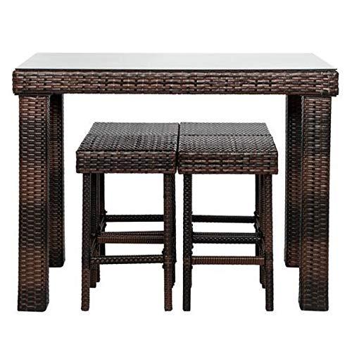 A-myt Cómodo y hermoso taburete de bar y mesa y silla conjunto 5 marrón Simple y generoso